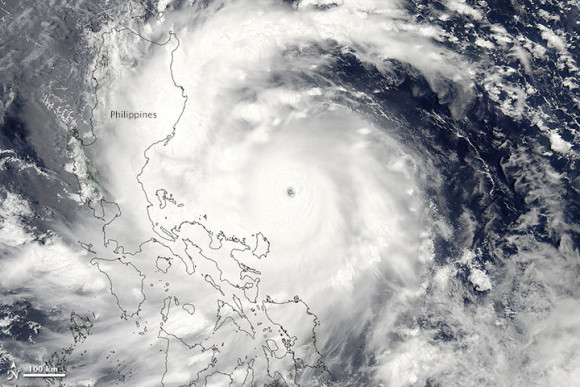 Super Typhoon Utor approaching the Philippines on Sunday, August 11, 2013. Image Credit: NASA
