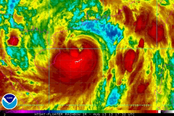 Infrared rainbow imagery of Typhoon Utor striking China. Image Credit: NOAA