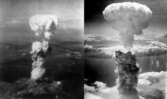 Atomic bomb over Hiroshima (left) on August 6, 1945 and Nagasaki (right) on August 9, 1945.   Read more about these images.