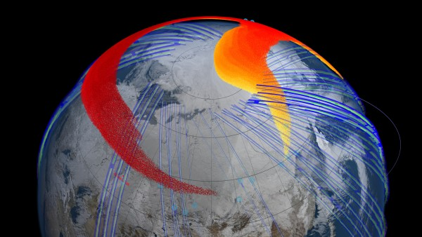 Four days after the explosion, fast-moving dust particles in higher altitudes of the atmosphere, shown in red, had circled the globe back to Chelyabinsk, Russia. Image Credit: NASA Goddard's Scientific Visualization Studio
