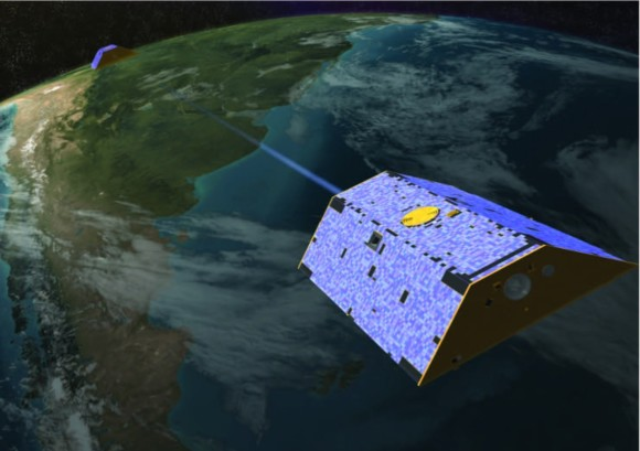 Look at what the Grace Satellite looks like as it measures data across a continent. Image Credit: NASA/University of Texas at Austin