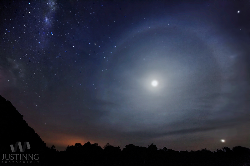 View larger. | Moon halo and Milky Way on August 13, 2013 by Justin NG of Singapore. He shot this image in Mersing, Malaysia. Thank you, Justin!