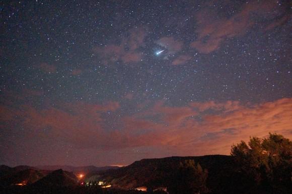 Meteor seen prior to the Perseids' 2013 peak, by EarthSky Facebook friend Mike Lewinski.  Thanks, Mike!
