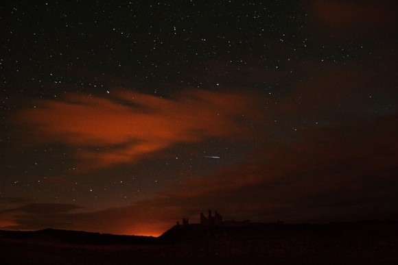 Perseid meteor as seen from Dunstanburgh Castle in Northumberland, UK by our friend Rob McAvoy, August 10, 2013.