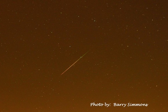 Perseid meteor seen August 10, 2013 by our friend Barry Simmons at Lake Martin, Alabama.  Thank you, Barry!