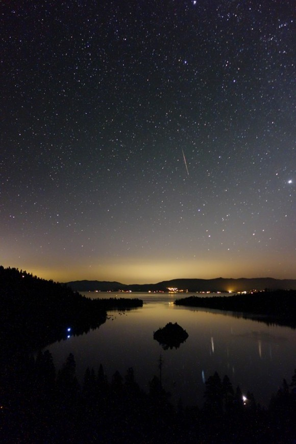 Perseid meteor over Emerald Bay, Lake Tahoe, California, as captured by our friend John A. Rossetto Jr.  Thank you, John.