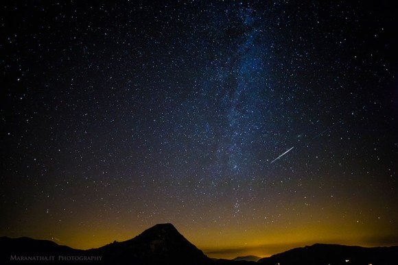 Perseid fireball next to the Northen end of the Milky Way over the Liguria Apennine mountains, interland of Sestri Levante, Italian Riviera.  Photo by EarthSky Facebook friend Maranatha.it Photography.