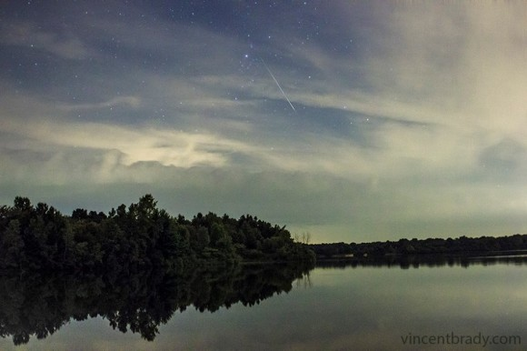 Perseid meteor captured August 9, 2013 at Sleepy Hollow State Park, Michigan, by EarthSky Facebook friend Vincent Brady Photographer.  See more from Vincent here.