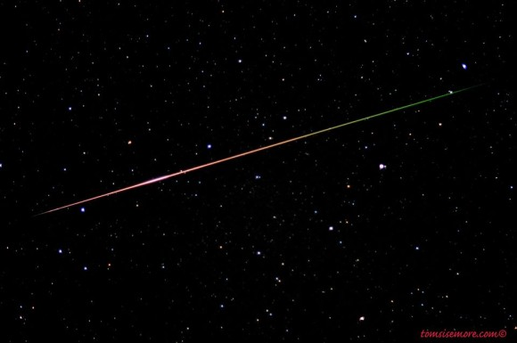 Tom Sisemore in Canehill, Arkansas captured this shot of a colorful Perseid on August 11, 2013.  Thank you, Tom!