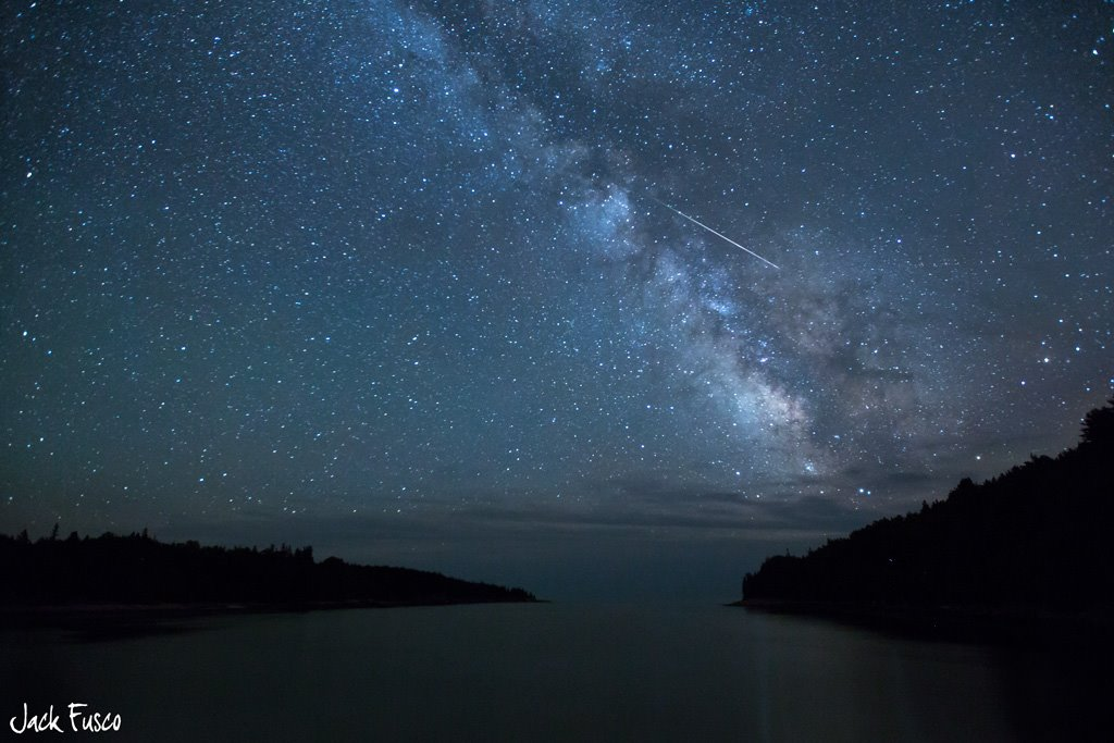 View larger. | Meteor seen at Acadia National Park during the 2012 Perseid meteor shower.  Photo from EarthSky Facebook friend Jack Fusco Photography.  See more from Jack here.