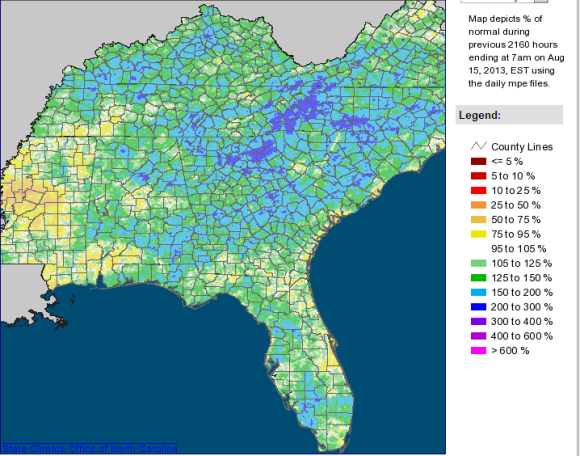 Rainfall totals have been extremely high across the Southeast, with some spots seeing rainfall totals well over 150% above normal. Image Credit: Southeast  Regional Climate Center