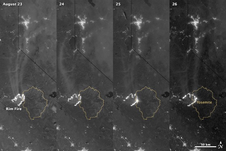 View larger. | California's Rim Fire from August 23 to 26, 2013 as seen by NASA's Suomi NPP satellite. NASA Earth Observatory image by Jesse Allen and Robert Simmon, using VIIRS day-night band data.