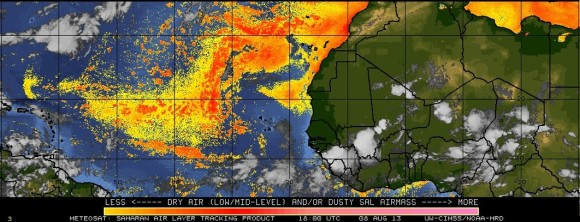 The Saharan air layer (red and orange colors) prevents tropical cyclones from developing due to the dry air pushing off the coast of Africa. Image Credit: Meteosat via University of Wisconsin (CIMSS)