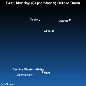 Dramatic pairing of moon with Venus after sunset September 8 2014-september-9-east-before-dawn-comet-ison-night-sky-chart-300x300