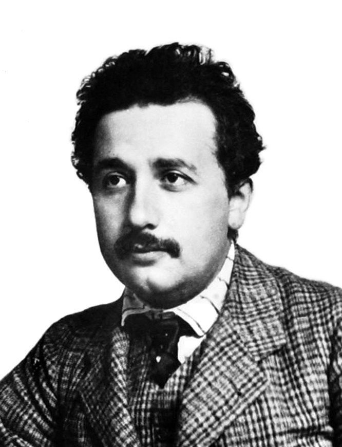 Einstein's most famous equation: Young man with curly dark hair and a mustache, wearing a plaid suit.