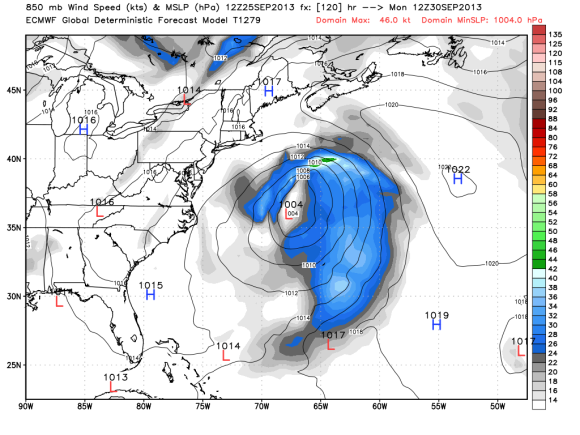 The 12z ECMWF model on September 25, 2013 keeping a potential tropical low east of the U.S. coast. Image Credit: Weatherbell