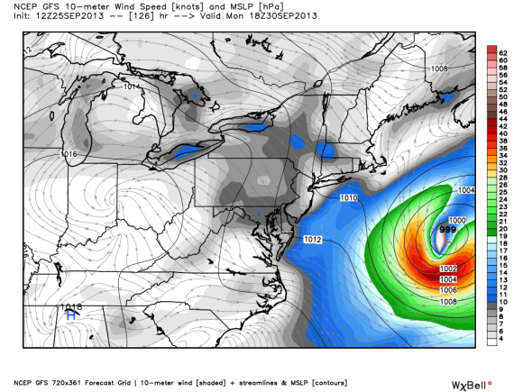 The GFS also shows a storm forming by early next week. However, it is also away from the U.S. coast. Image Credit: Weatherbell