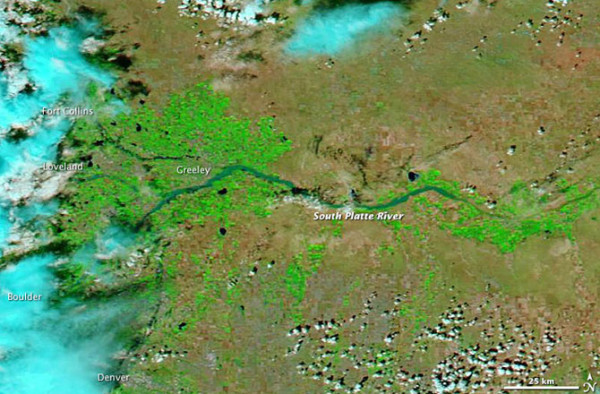 NASA's Aqua satellite was able to acquire this image of Greeley and the South Platte River on September 14, 2913, when the clouds broke.   Image via NASA.