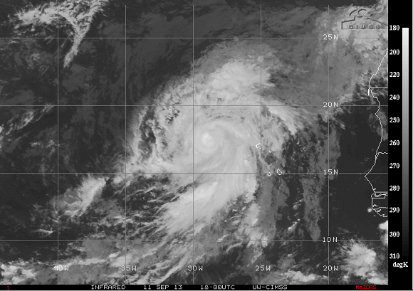Infrared image of Hurricane Humberto as it spins in the Eastern Atlantic Ocean on September 11, 2013. Image Credit: CIMSS