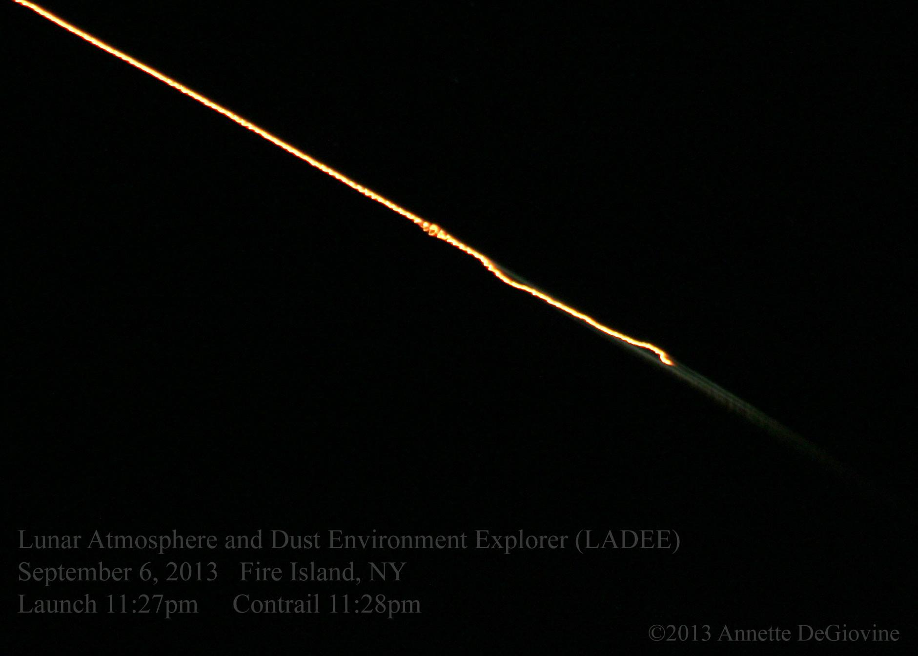 LADEE captured one minute after lift off, as seen from Long Island by Annette DeGiovine. Thank you, Annette!