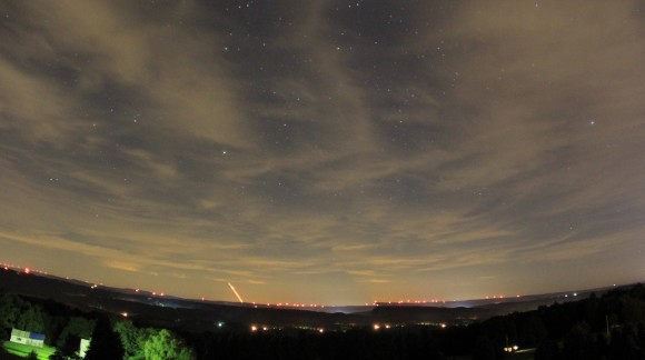 Panoramic view of LADEE launch, as seen by Ronald J. Shawley in western Pennsylvania.  Thank you, Ronald!