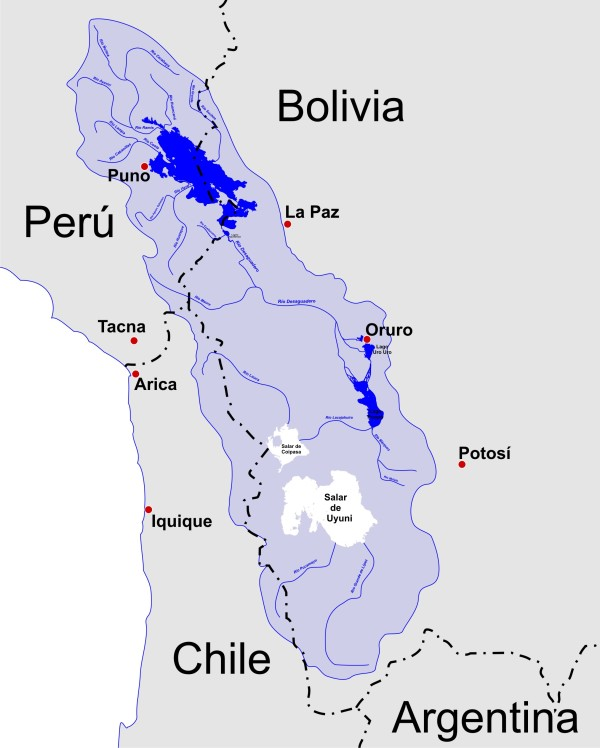 Lake Titicaca watershed. Image credit: usuario via Wikimedia Commons.