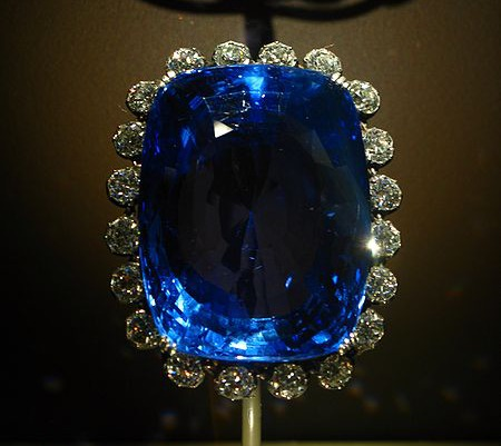 The Logan Sapphire Brooch, the second largest sapphire known (at 422.99 carats), is on display at the National Museum of Natural History in Washington, D.C. Image Credit: Andrew Bossi