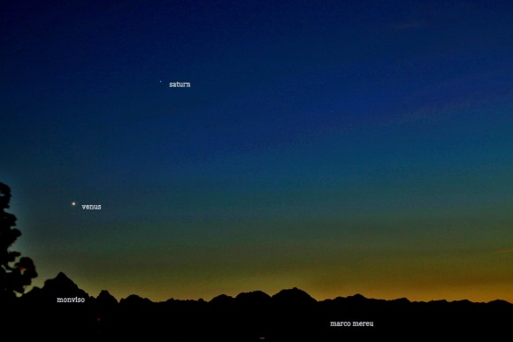 EarthSky Facebook friend Marco Mereu of Turin, Italy captured this beautiful image of Venus and Saturn on September 18, 2013.  The two are poised above Monviso, aka Monte Viso, the highest mountain of the Cottian Alps.  Thank you, Marco!