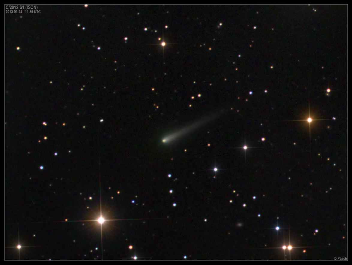 View larger. | Comet ISON on September 24, 2013 as captured by Damian Peach. Notice the greenish color. As it nears the sun, the comet is becoming more active. Some of its gases a green color when excited by energetic ultraviolet light - as the comet nears the sun. Photo used with permission.