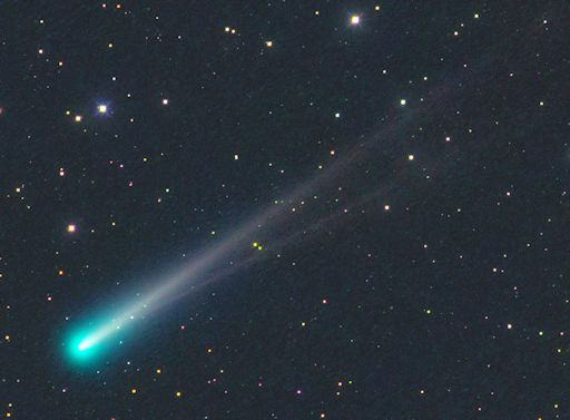 Michael Jager of Jauerling, Austria captured this image of the comet on November 10, 2013. It clearly shows that the comet, as it has approached the sun, has two tails: an ion tail (composed of ionized gas molecules) and a dust tail (created by bits of dirt that have come off the comet's nucleus). The ion tail points directly away from the sun, but the dust tail doesn't. That is why you see the two tails as separate. Image via Michael Jager. Used with permission.