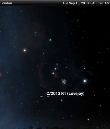 Comet Lovejoy's location on the sky's dome now.  It is up in the morning sky, as seen from across the Earth.  Image via realistnews.net