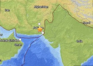 Earthquake in Pakistan, September 24, 2013 via USGS