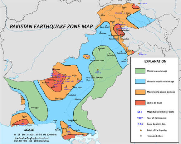 Pakistan earthquake zone map, via Wikimedia Commons.  The September 24, 2013 earthquake took place 116 km (72 m) northwest of Bela on this map, which is in the blue zone (minor to moderate damage).  Yet USGS issued a red alert for fatalities and orange alert for economic losses for this quake.
