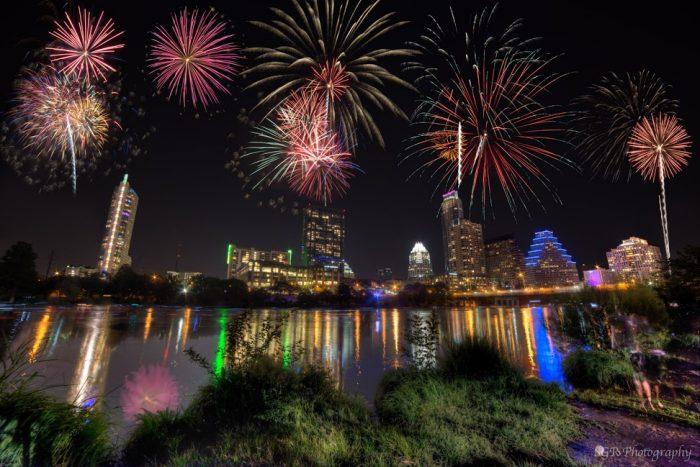 Austin fireworks by Sergio Garcia Rill.  July 4, 2013.