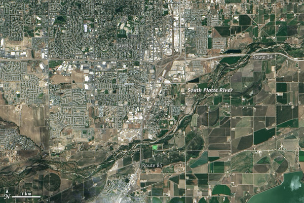 Greeley, Colorado on June 29, 2013. NASA Earth Observatory image by Jesse Allen and Robert Simmon, using Landsat data from the U.S. Geological Survey.