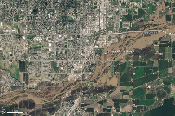 Greeley, Colorado on September 17, 2013.  NASA Earth Observatory image by Jesse Allen and Robert Simmon, using Landsat data from the U.S. Geological Survey.