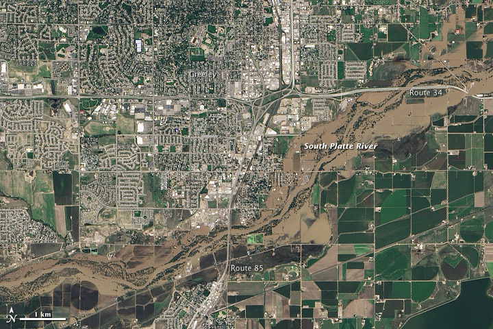 View from space: Greeley, Colorado before and after the flood
