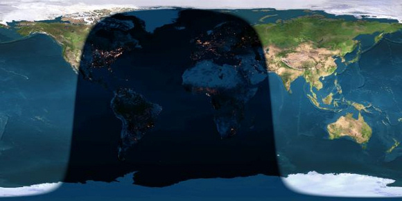 Day and night sides of Earth at the instant of the September 2014 full moon (2014 September 9 at 1:38 Universal Time). The shadow line running through North America represents sunset while the shadow line crossing western Asia depicts sunrise. You have to be on the nighttime side of the world to see the moon at the moment it turns full.