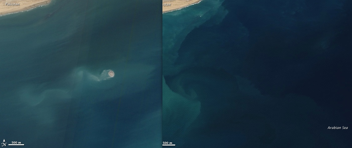 View larger. | New islands do rise from the sea floor on occasion.  Image on left shows an island that appeared on November 26, 2010, also formed by a mud volcano, off Balochistan, Pakistan.  Image on left shows the same spot about a year earlier.  Images via NASA Earth Observatory