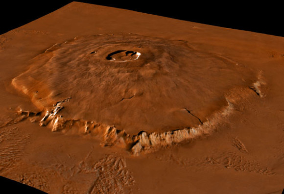 This is Olympus Mons (Latin for Mount Olympus) is a large shield volcano on the planet Mars. Image credit: NASA