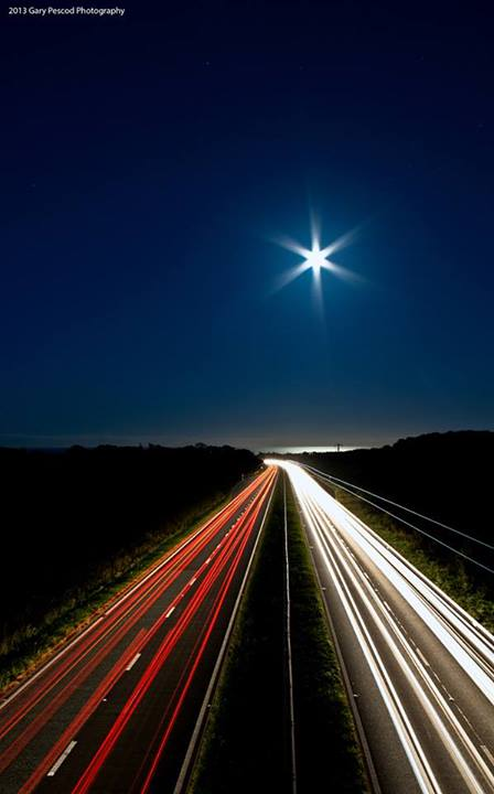 Gary Pescod wrote on September 18, 2013: 'My take on tonight's full moon over the Seaham Coast [in the UK].  Viewed from the Burdon Lane/A19 flyover.'  Thanks, Gary.  See more of Gary's photos here.