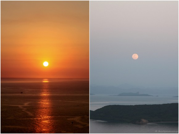 Left: Orange sunset over the seashore. Right: Pink full moon floating above rocky coast in twilight.