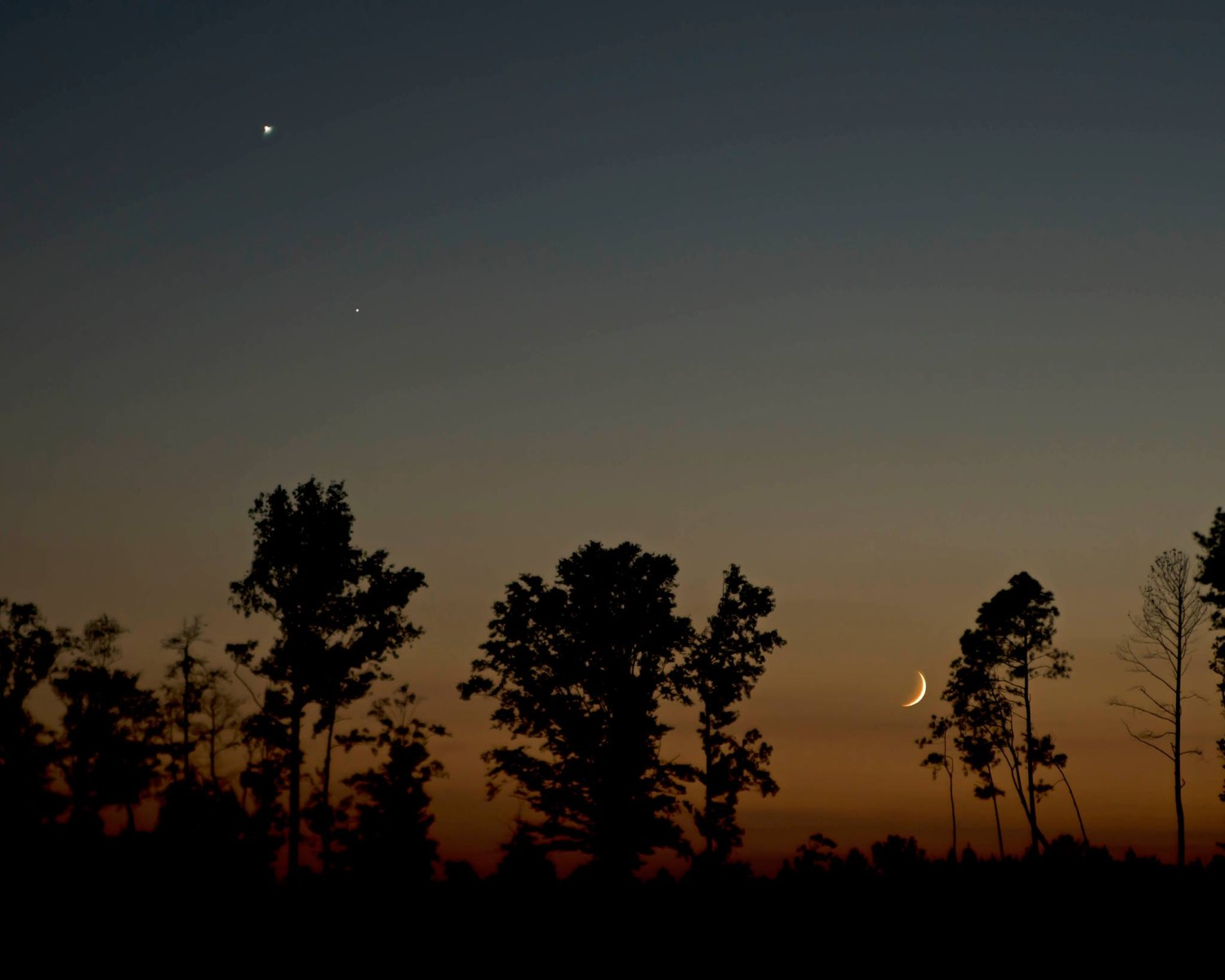 View larger. | Here are the moon and Venus last night - September 7 - as captured by EarthSky Facebook friend Ken Christison in North Carolina. Thank you, Ken! On Sunday evening - September 8 - the moon will appear much closer to Venus. The Americas, in particular, will get a dramatically close view of the pair.