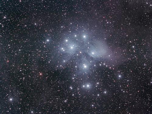 The Pleaides star cluster as seen through the telescope. Photo crdit: s58y's photostream