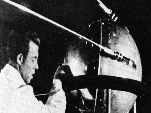 This historic image shows a technician putting the finishing touches on Sputnik 1, humanity's first artificial satellite. The pressurized sphere made of aluminum alloy had five primary scientific objectives: Test the method of placing an artificial satellite into Earth orbit; provide information on the density of the atmosphere by calculating its lifetime in orbit; test radio and optical methods of orbital tracking; determine the effects of radio wave propagation though the atmosphere; and, check principles of pressurization used on the satellites.  Image Credit: NASA/Asif A. Siddiqi