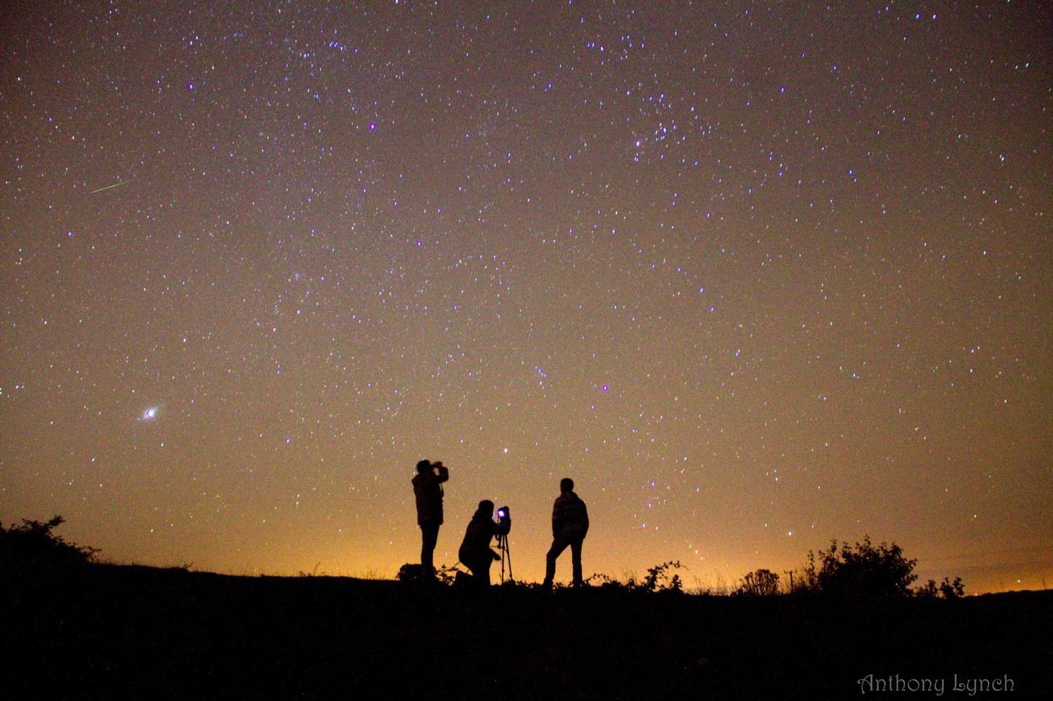 View larger. | Anthony Lynch captured this image in Wicklow, Ireland. The bright object on the left is Jupiter. See the green meteor above Jupiter? This is the predawn sky in early September, 2013.