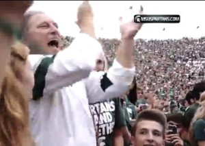 Tom Izzo joins the fans, September 7, 2013
