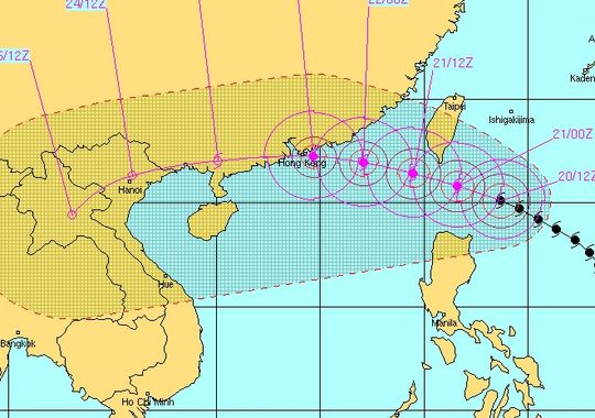 Another look at the forecast track for Typhoon Usagi (the purple dots and circles) shows it moving west between Taiwan and the Philippines before heading directly into China and Hong Kong.  Image via the Joint Typhoon Warning Center.