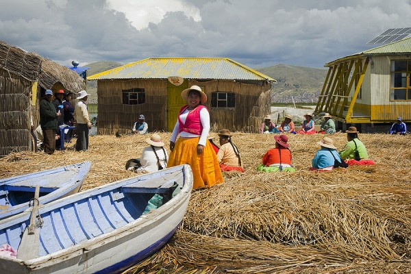 Community gathering on one of the Uros Islands on the Peruvian side of Lake Titicaca . Photo for National Geographic by Eduardo Rubiano Moncada. Used with permission.
