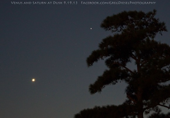 Venus and Saturn as captured on September 19 by Greg Diesel Landscape Photography.  See more of Greg's photos here.